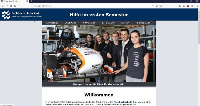 Website for the University of Applied Sciences Kiel